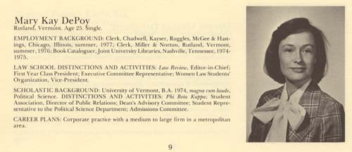Mary Kay DePoy Harris, 1978L, First Woman to Head Law ...